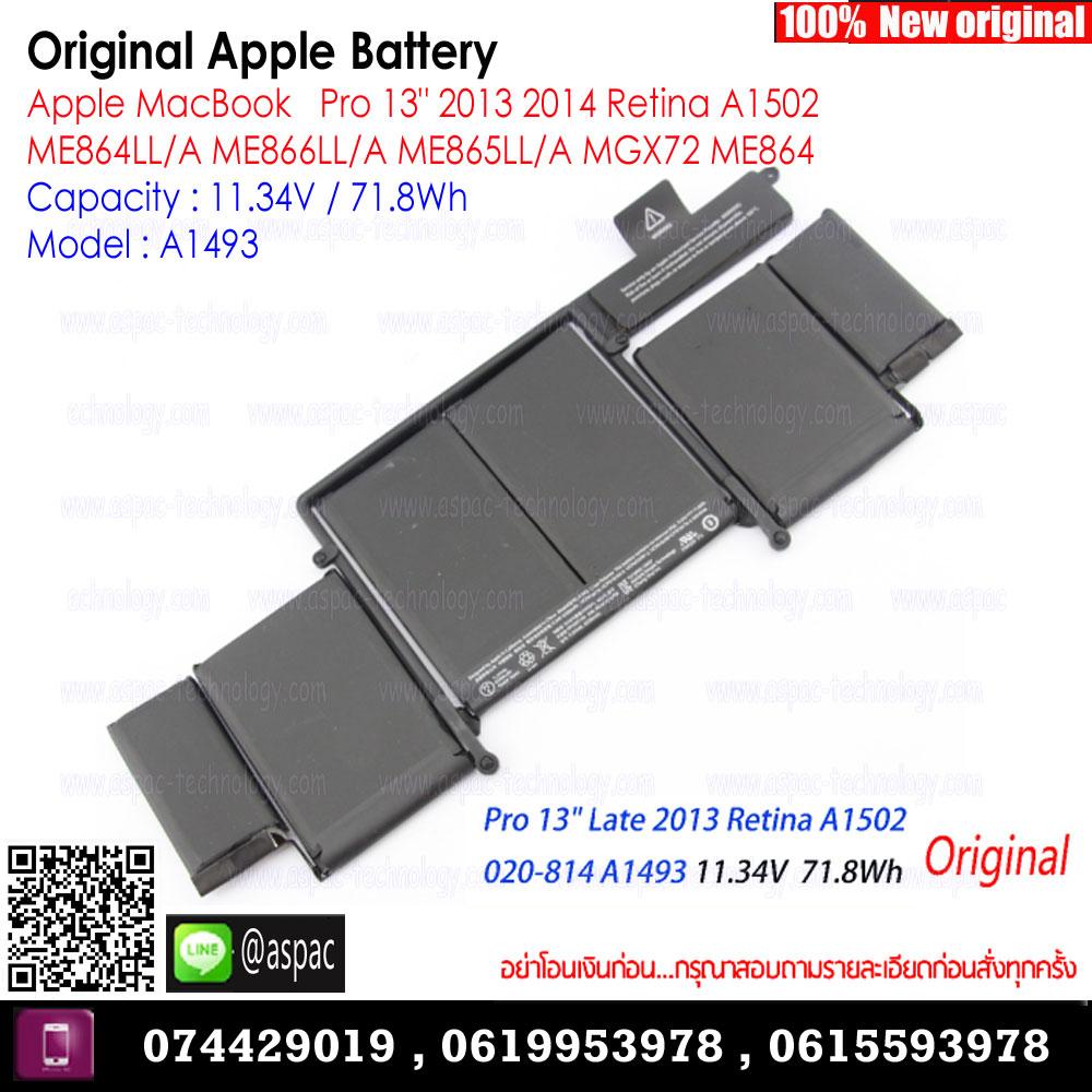 """Original Battery A1493 11.34V / 71.8Wh For Apple MacBookAirPro 13"""" 2013 2014 Retina A1502 ME864LL/A ME866LL/A ME865LL/A MGX72 ME864"""