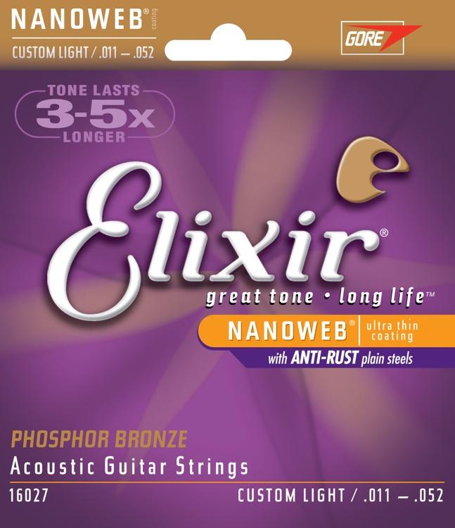 สายกีตาร์โปร่ง Elixir Phosphor Bronze Nanoweb Anti-Rust, Custom light, 11-52