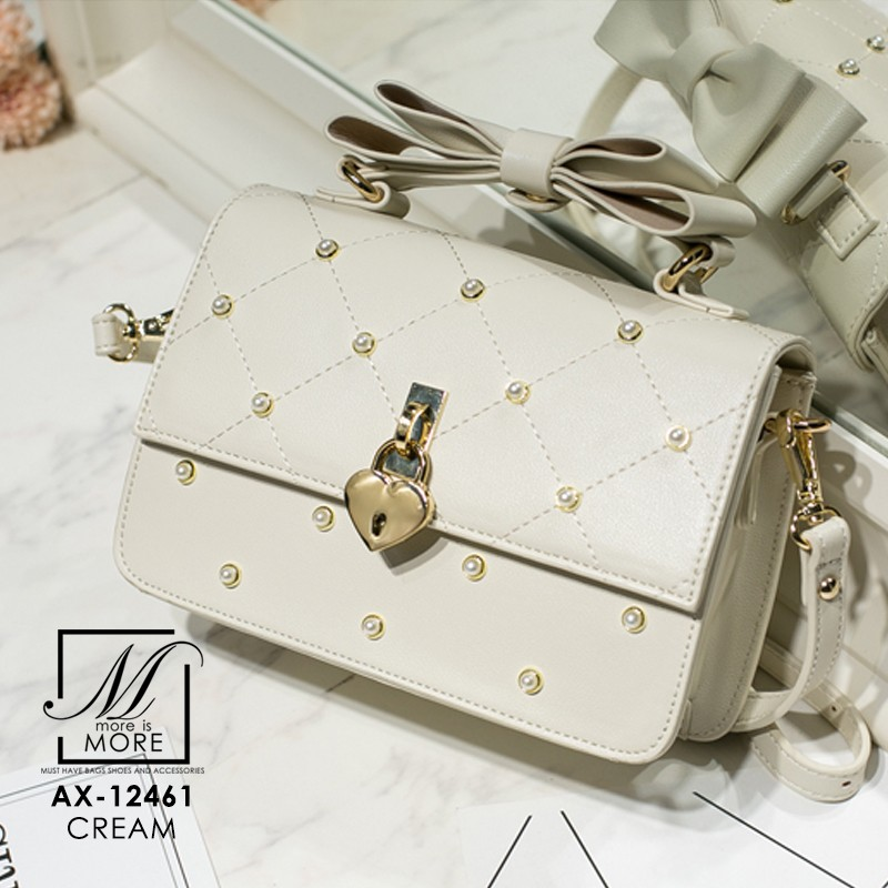 กระเป๋าสะพายกระเป๋าถือ แฟชั่นนำเข้าแบรนด์ axixi แต่งมุก AX-12461-CRM (สีครีม)