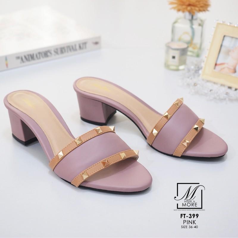 พร้อมส่ง รองเท้าส้นตันเปิดส้นสีชมพู style แบรนด์ valentino แฟชั่นเกาหลี [สีชมพู ]
