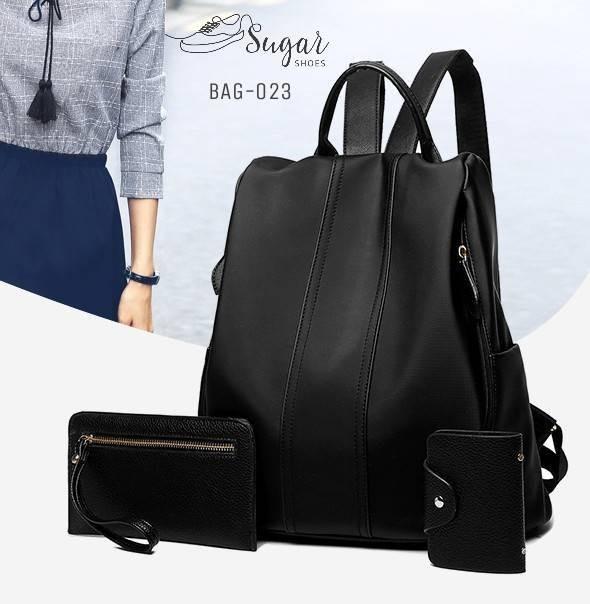พร้อมส่ง กระเป๋าเป้เซ็ทสามใบผ้าไนล่อน-BAG-023 [สีดำ]
