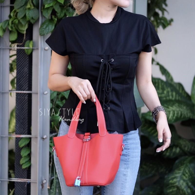 กระเป๋าสะพายแฟชั่น กระเป๋าสะพายข้างผู้หญิง PICOTIN 19 Inch [สีแดง]