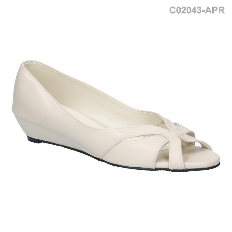 พร้อมส่ง รองเท้าส้นเตี้ย C02043-APR [สีแอปริคอท]