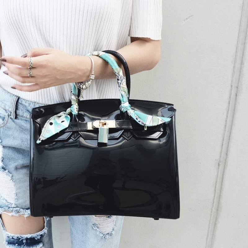 กระเป๋าถือ กระเป๋าคลัทช์ หนังซิลิโคนนิ่ม Birkin Toy [สีดำ ]