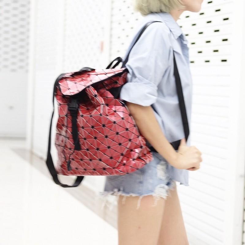กระเป๋าเป้ผู้หญิง กระเป๋าสะพายหลังแฟชั่น BAO BAO เป้ (No logo) [สีแดง]