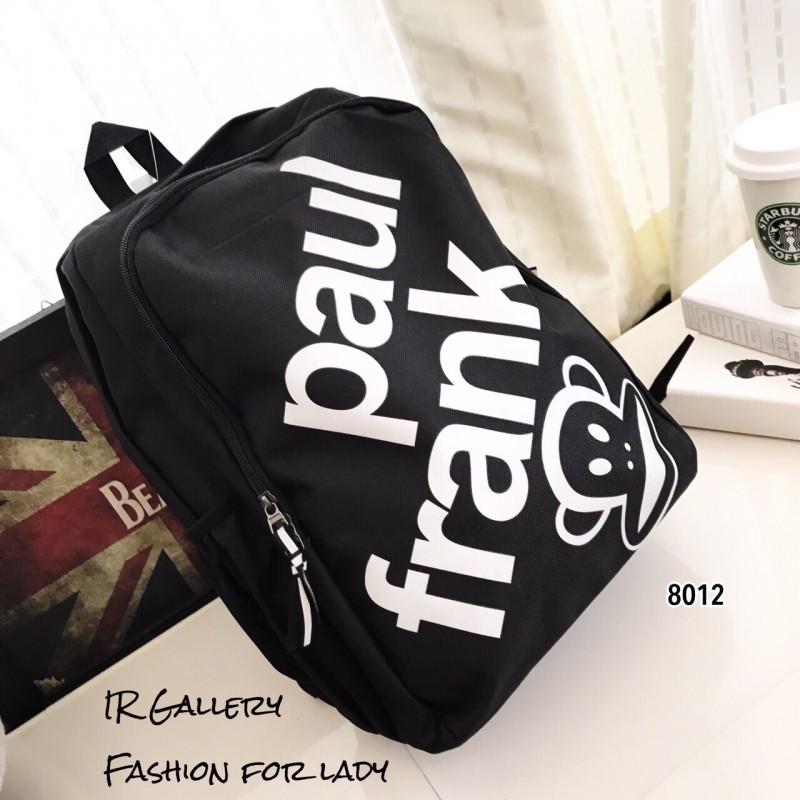 กระเป๋าเป้ผู้หญิง กระเป๋าสะพายหลังแฟชั่น ผ้าไนล่อน Style Brand paulfrank [สีดำ ]