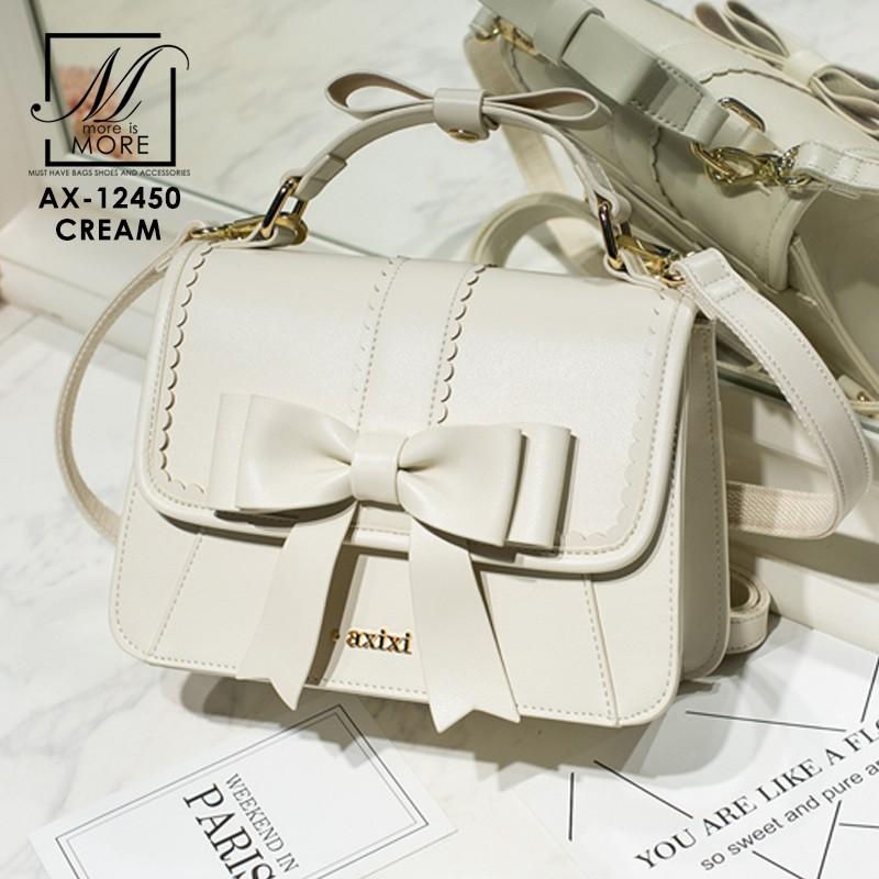 กระเป๋าสะพายกระเป๋าถือ แฟชั่นนำเข้าแต่งโบว์ แบรนด์ axixi แท้ AX-12450-CRM (สีครีม)