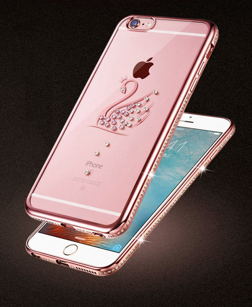 เคสใส ขอบเพชร หงส์ นกยูง หอยไข่มุก (ยางหนา 1.5 มม.) - iPhone6 / 6S