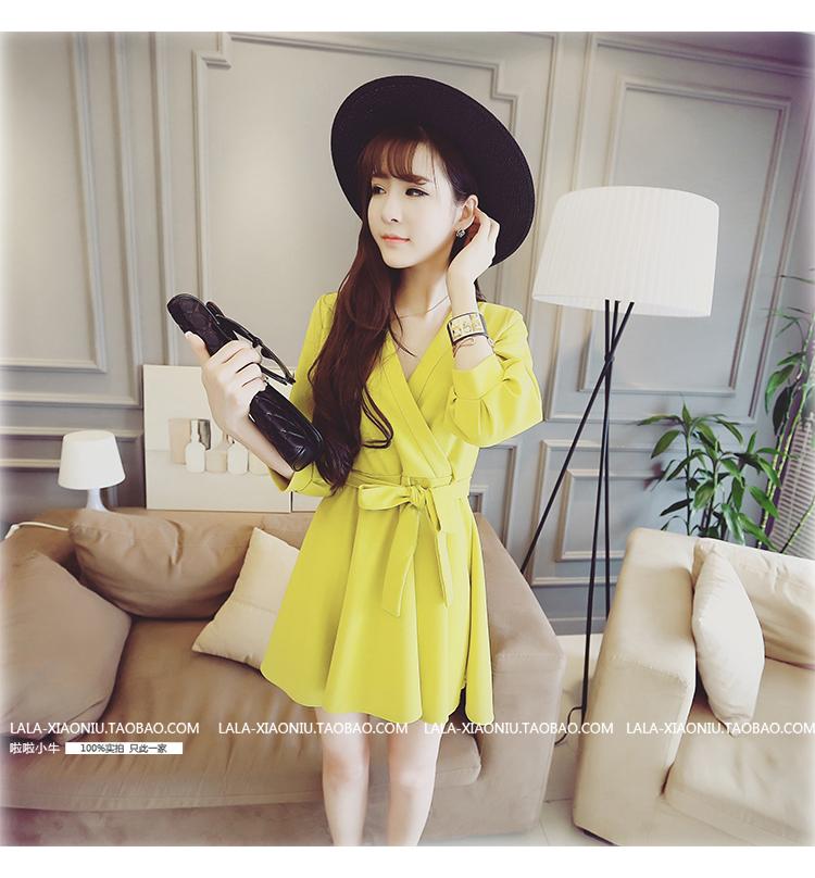 ชุดเดรสทำงานแฟชั่นเกาหลีสีเหลืองกระโปรงบานไฮโซมาก
