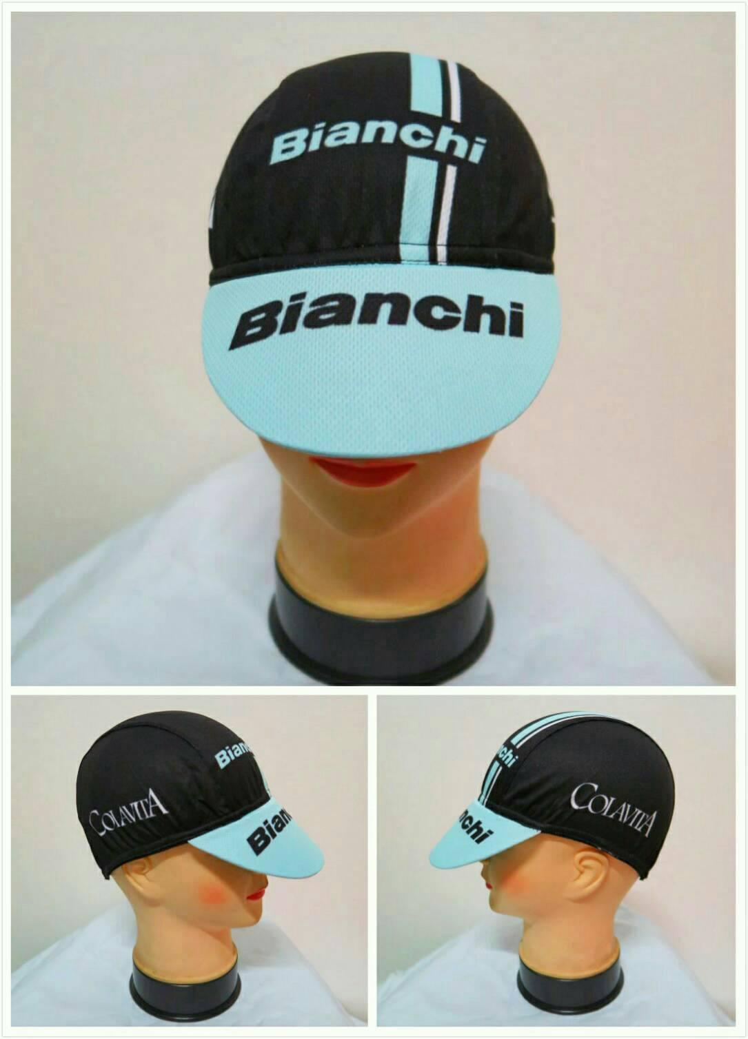 หมวกแก๊ป ลาย bianchi ฟ้า (แอดไลน์ @pinpinbike ใส่ @ ข้างหน้าด้วยนะคะ)