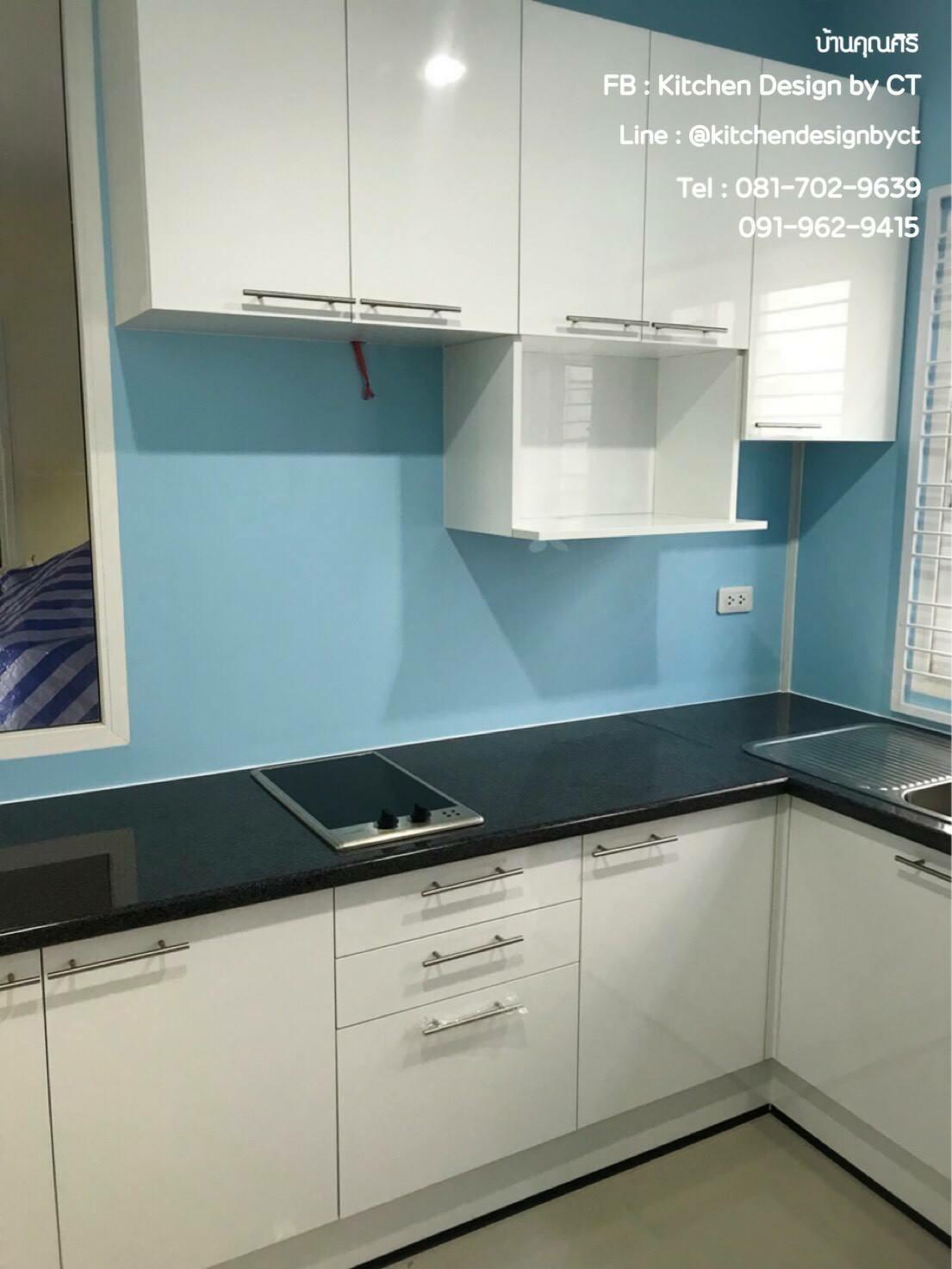 Glossy White Kitchen (ชุดครัวบิ้วอินสีขาวเงา)