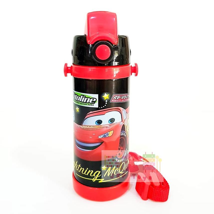 กระติกน้ำสแตนเลสเก็บความร้อน ความเย็น กระติกน้ำสำหรับเด็ก Cars สีดำ (หลอด)