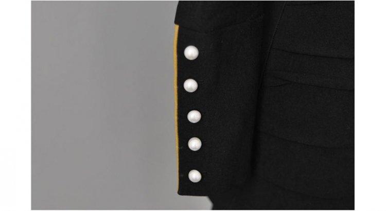 ชุดเดรสทำงานสีดำแขนยาวทรงตรงเข้ารูปสวยๆ