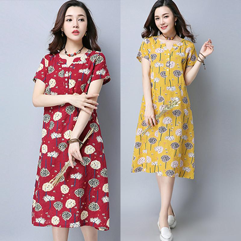 ชุดเดรสผ้าฝ้ายแฟชั่นเกาหลี
