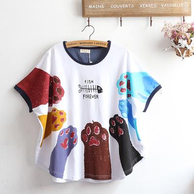 Pre-Order เสื้อแขนสั้นทรงปีกค้างคาว ชายโค้ง พิมพ์ลายอุ้งแมวหลากสี