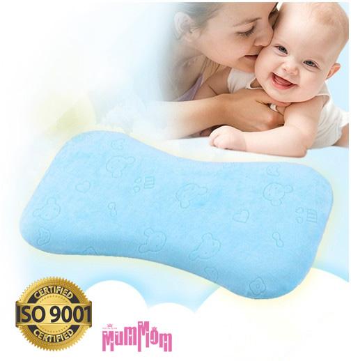 MumMom มัมมัม Baby Pillow สีฟ้า หมอนทารก หมอนเด็ก หมอนหัวทุย