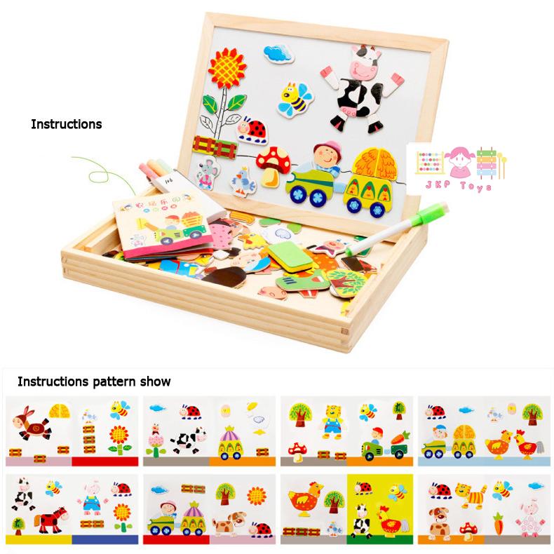 ของเล่นเสริมพัฒนาการ ของเล่น ของเล่นไม้ชุดกระดานเเม่เหล็กเเละกระดานดำชุด Happy Farm