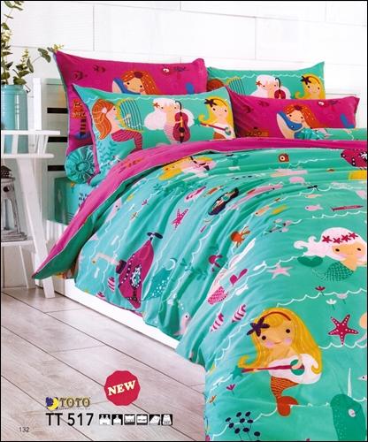 toto ชุดเครื่องนอน ผ้าปูที่นอนลายนางเงือกกับเหล่าปลาน่ารัก ลายสวย TT517