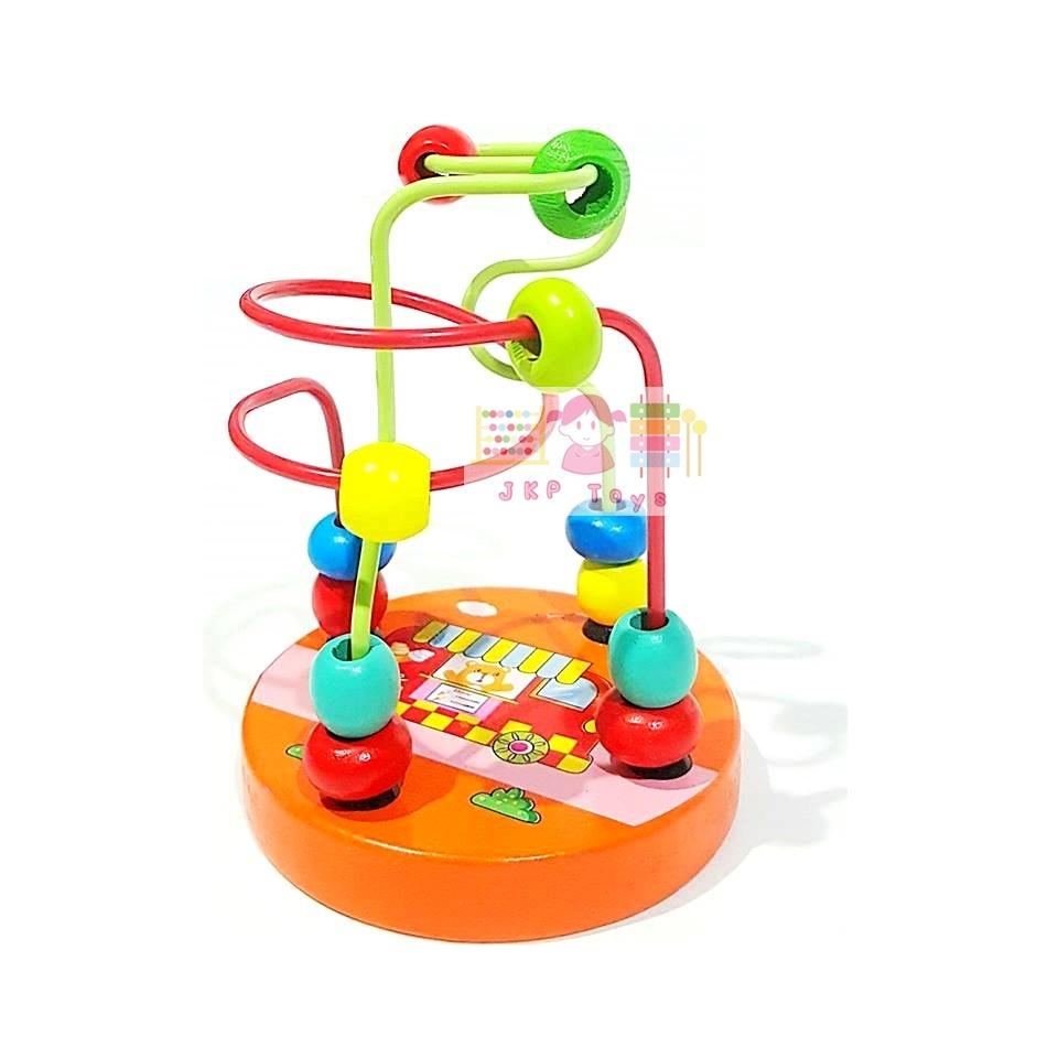 ของเล่นไม้เสริมพัฒนาการ ขดลวดฝึกสมาธิเล็ก สีส้ม