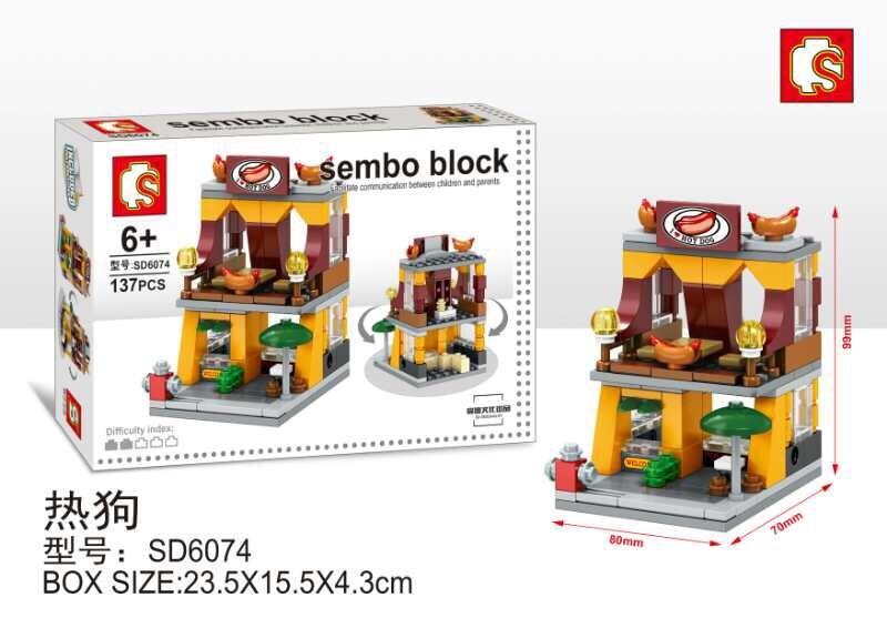 SD6074 Mini Street ของเล่นตัวต่อร้านขายฮอตด็อก Hot dog