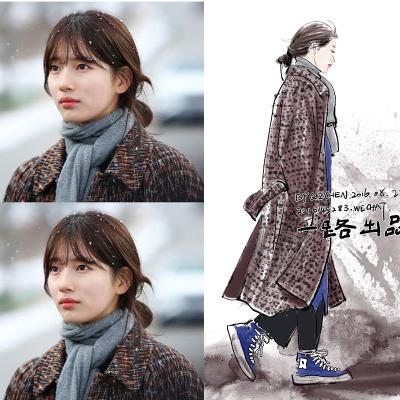 เสื้อโค้ทตัวยาวเกาหลี โนอึล Uncontrollably Fond สีน้ำตาลเข้ม