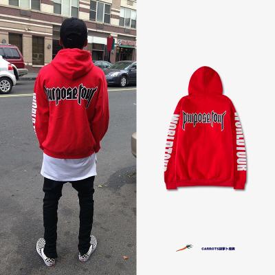 เสื้อฮู้ดแจ็คเก็ตสีแดง Justin Bieber แต่งลายแขนเสื้อ
