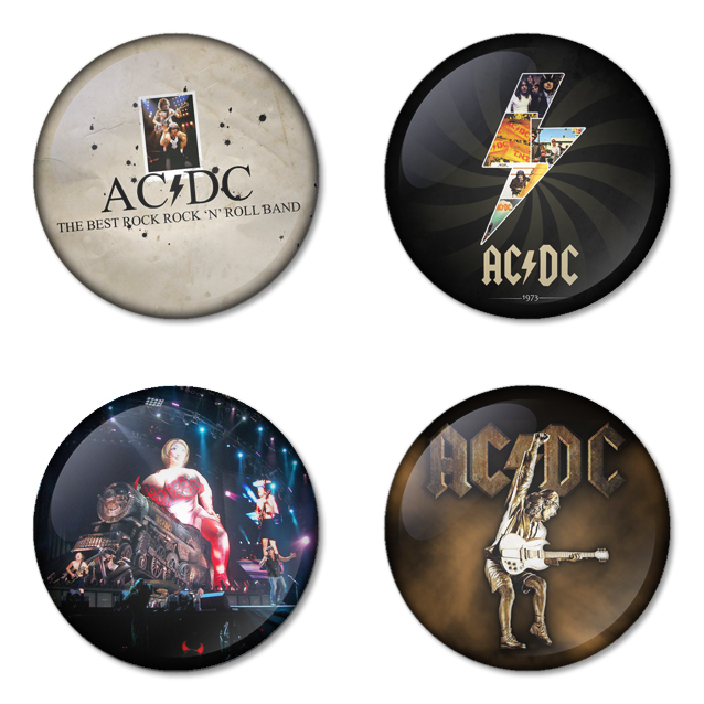 AC/DC button badge 1.75 inch custom backside 4 type Pinback, Magnet, Mirror or Keychain. Get 4 in package [1]