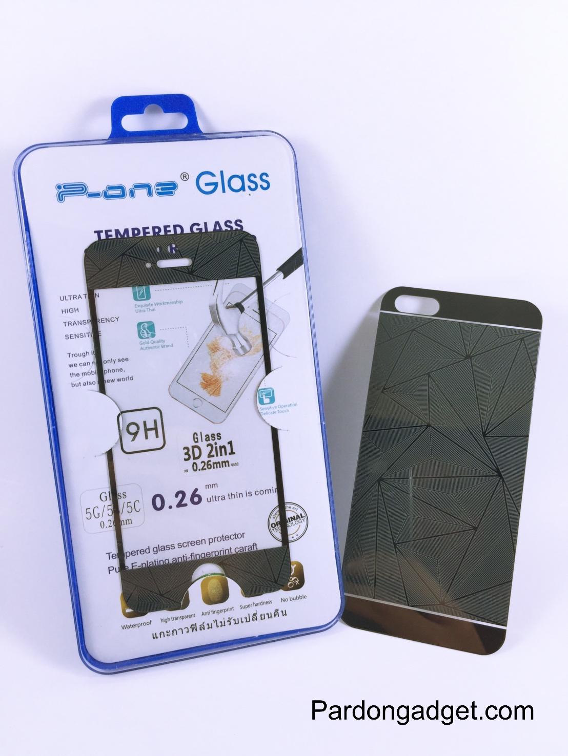 ฟิล์มกระจก(ฟิล์มกันรอย) 3 มิติ Iphone 5/5S/5SE สีดำ 2in1 (หน้า-หลัง)