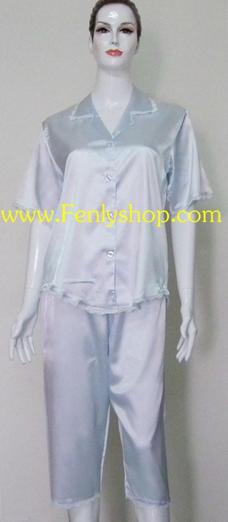 ชุดนอน(ญ)ขาสามส่วน ผ้าซาตินเกรด เอ ไซส์ใหญ่ สีฟ้าสวยๆ น่ารัก เสื้อรอบอก 46 นิ้ว