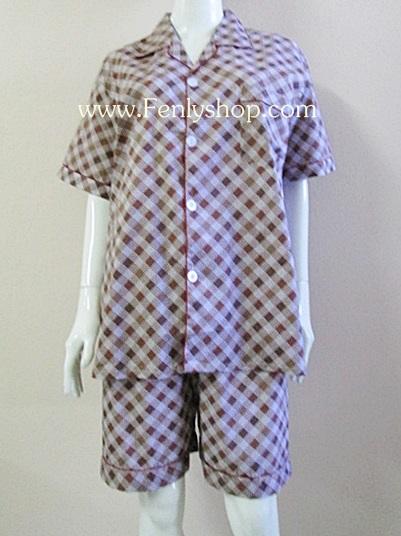 ชุดนอน(ช)กางเกงขาสั้น ผ้า Cotton เกรด เอ แบบลายสีน้ำตาลเข้ม คอปก ขนาดใหญ่ไซส์ XXL