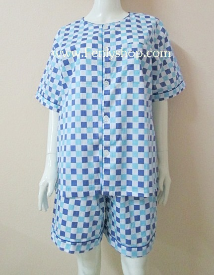 ชุดนอน(ช)กางเกงขาสั้น ผ้า Cotton เกรด เอ แบบลาย-โทนสีฟ้า+น้ำเงิน คอกลม ฟรีไซส์ (F)