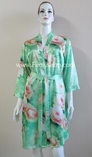 เสื้อคลุม+ชุดนอน(2 ชิ้น) ผ้าซาติน เกรด A โทนสีเขียวแขนยาว สินมีคุณภาพ