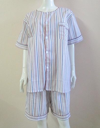 ชุดนอน(ช)กางเกงขาสั้น ผ้า Cotton เกรด เอ แบบลายริ้ว คอกลม ขนาดไซส์ XXL
