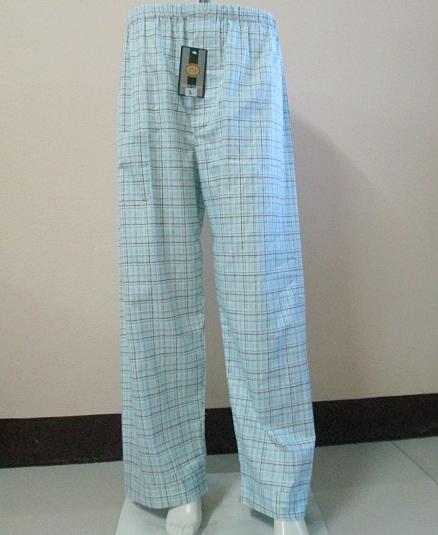 กางเกงนอนขายาว(ชาย) ผ้าคัตตอน เกรด เอ แบบลาย โทนสีฟ้าเขียว ไซส์ XL