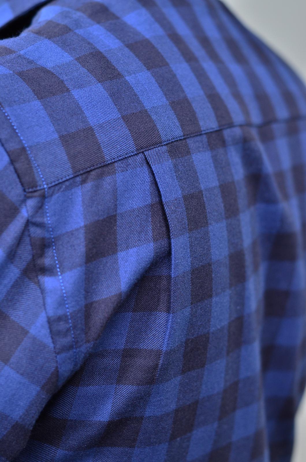 เสื้อลายสก๊อตผู้ชาย สีน้ำเงิน