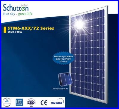 แผงโซล่าเซลล์ Schutten Solar Cell Mono-crystalline module 300W มาตราฐาน TUV IEC CE แผงโซล่าเซลล์อายุการใช้งานนาน 25ปี เหมาะสำหรับโครงการ solar Rooftop