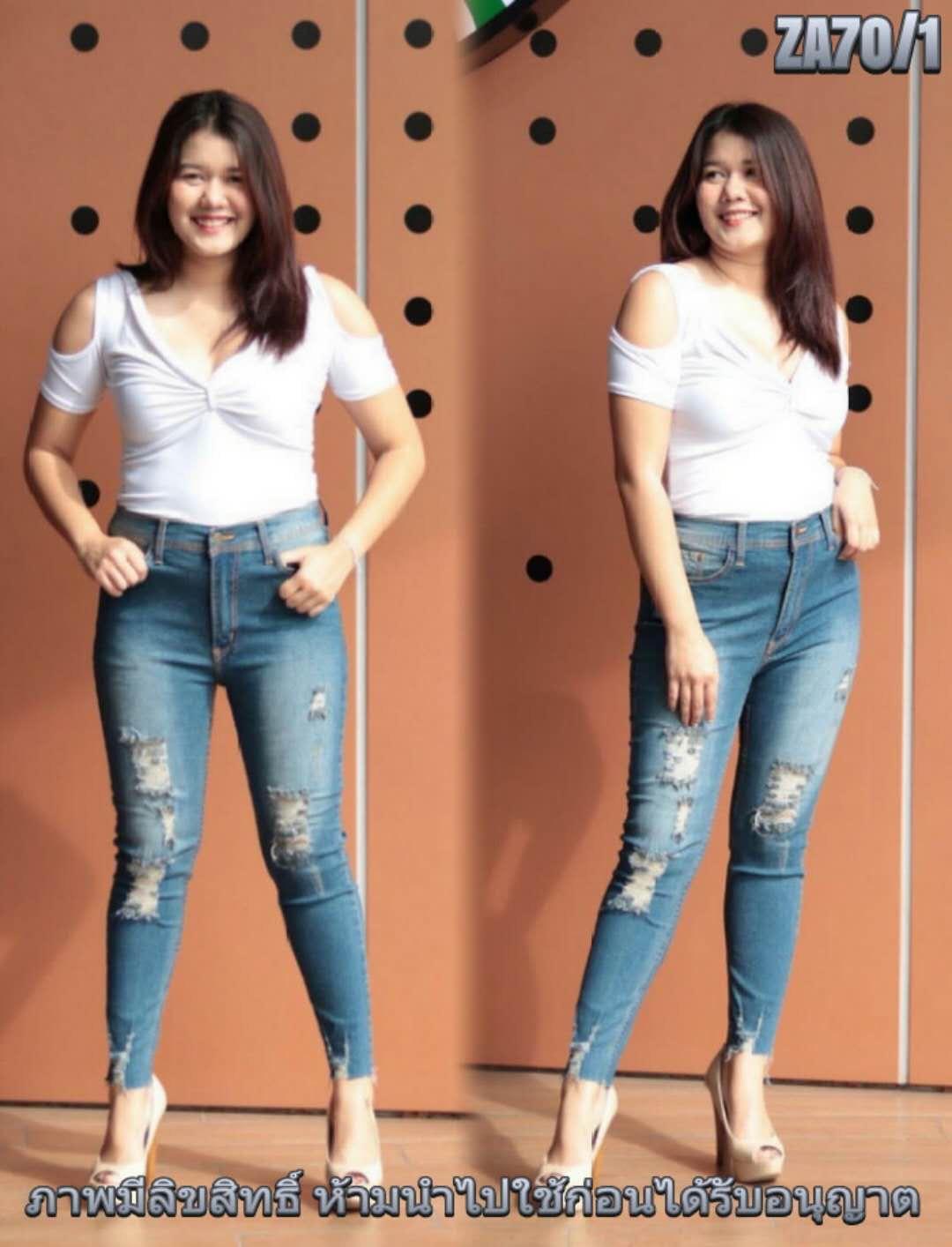 กางเกงยีนส์ไซส์ใหญ่เอวสูง ขาดหน้าขา ปลายขารุ่ย สีฟอกฟ้าเทา มี SIZE 38 40 42