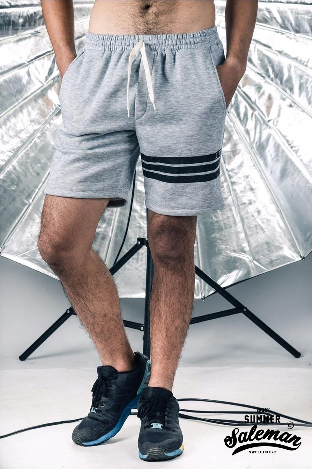 กางเกงขาสั้น พรีเมี่ยม รหัส WT 209 PRO Three Bars สีเทาอ่อน