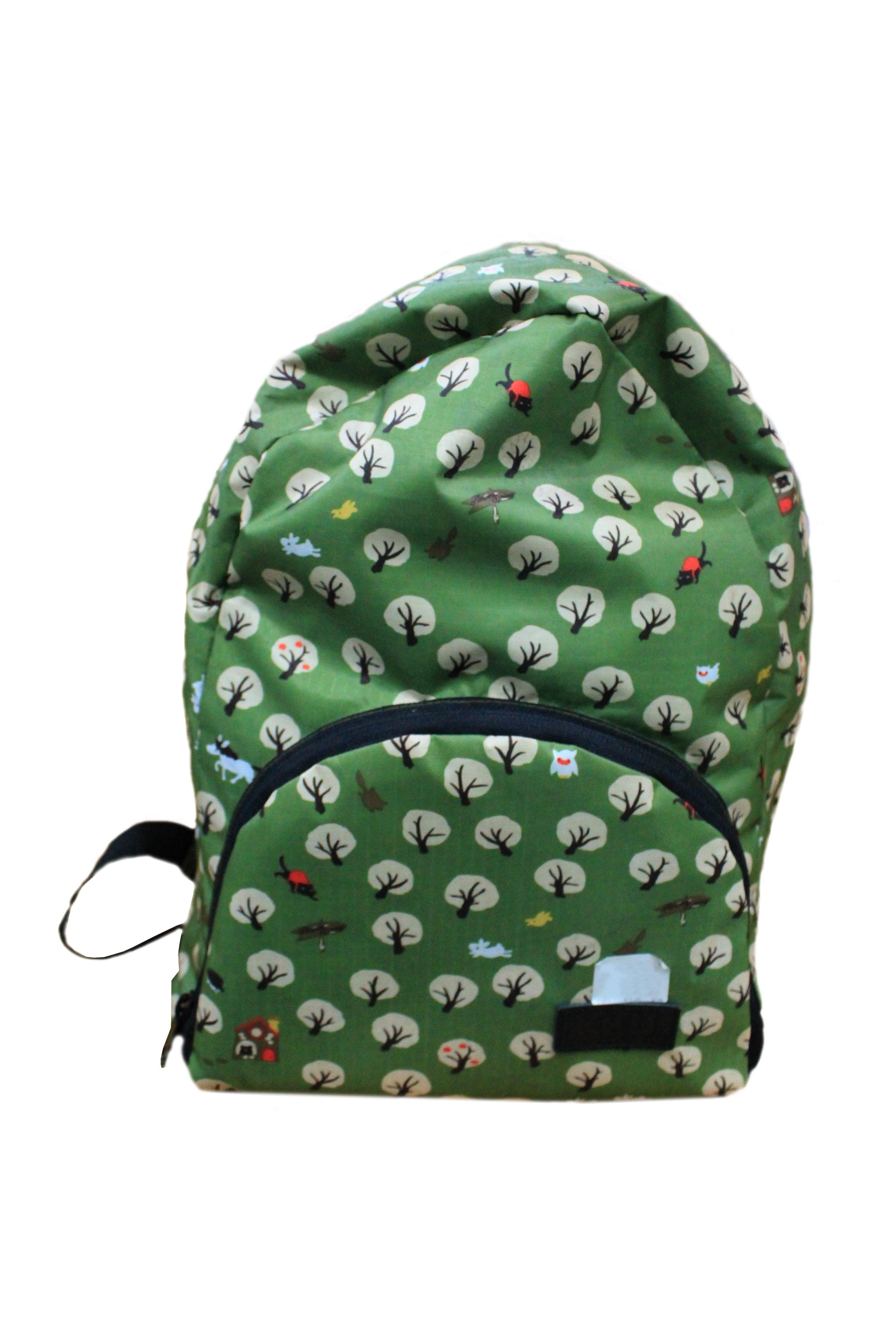 กระเป๋าพับได้ สีเขียวลาย