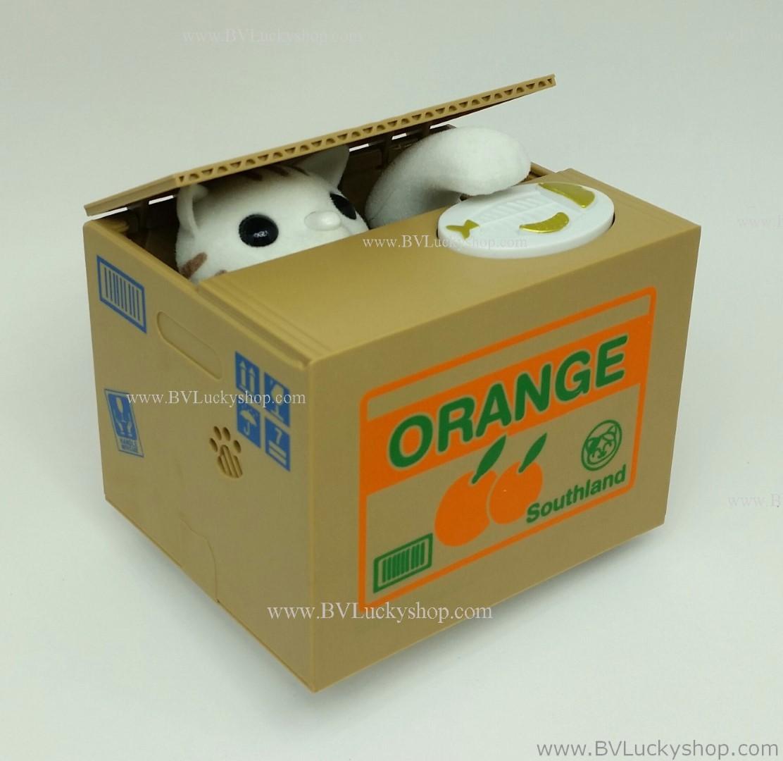 แมวกล่อง แมวขโมยเหรียญ กระปุกออมสิน - กล่องผลไม้ส้ม [Cbox-sav-Or]