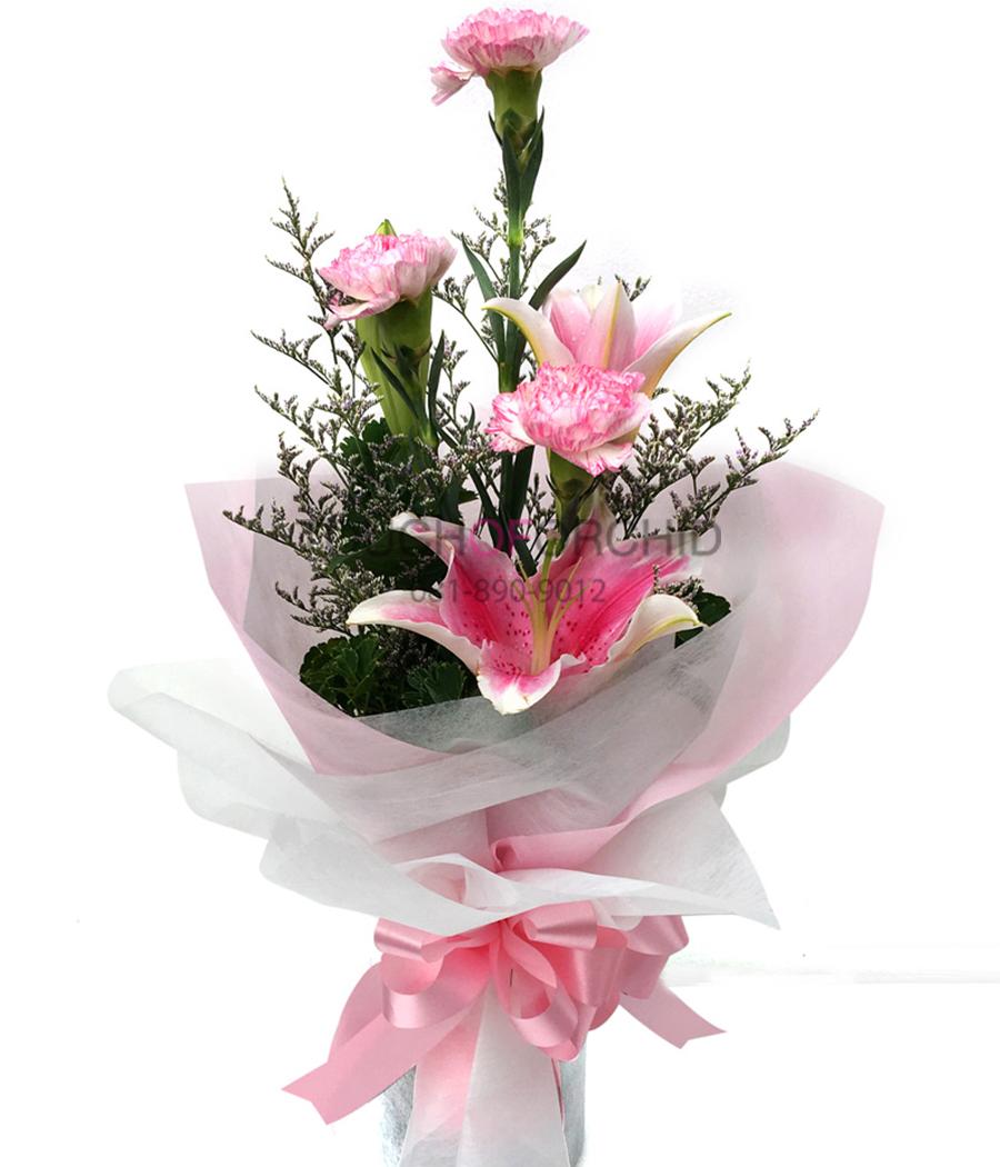 ช่อดอกไม้ ลิลลี่ชมพู-คาร์เนชั่น