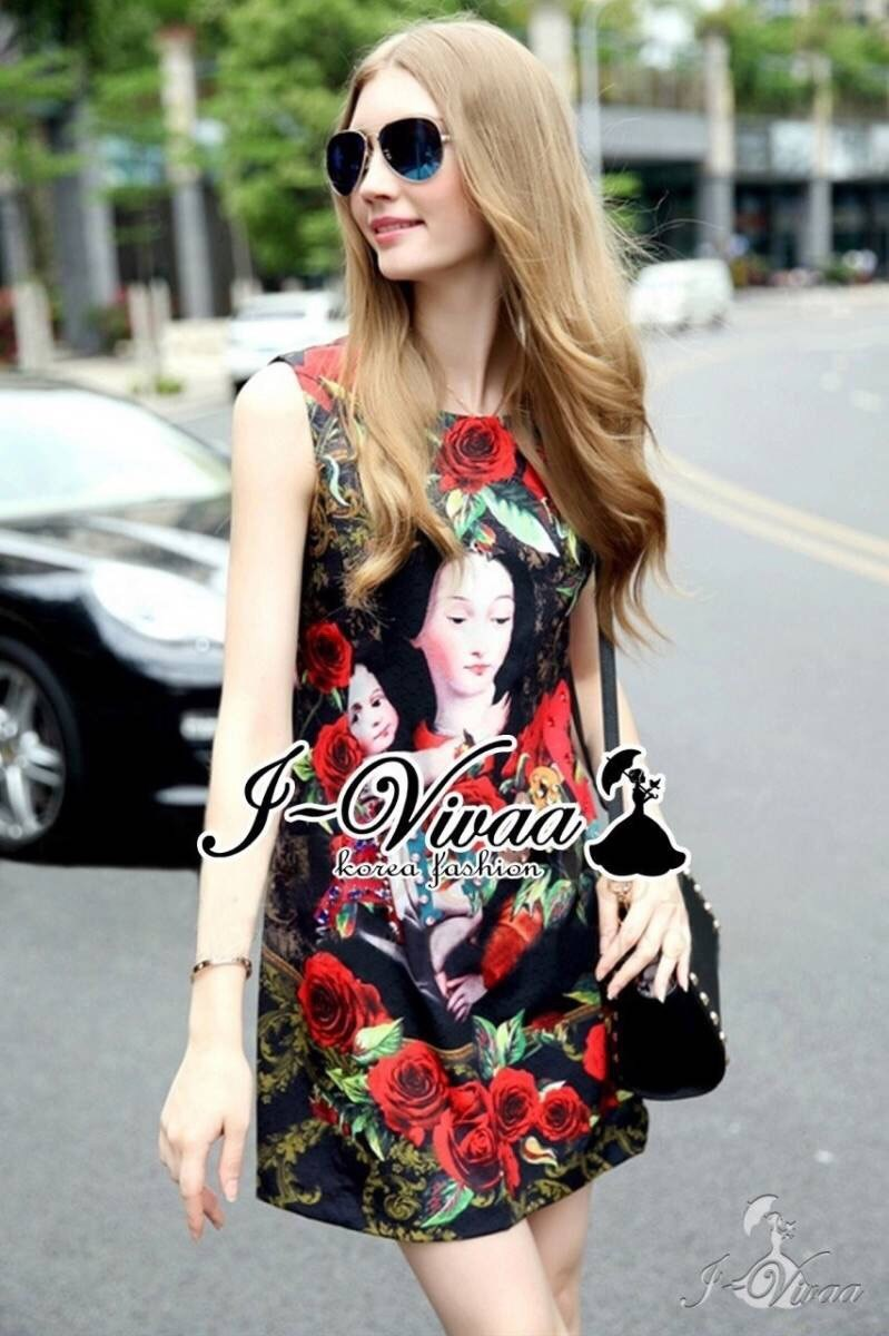Red rose D&G print style dress