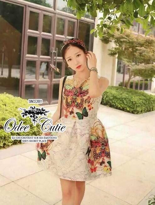 Luxury butterfly jewel printed dress