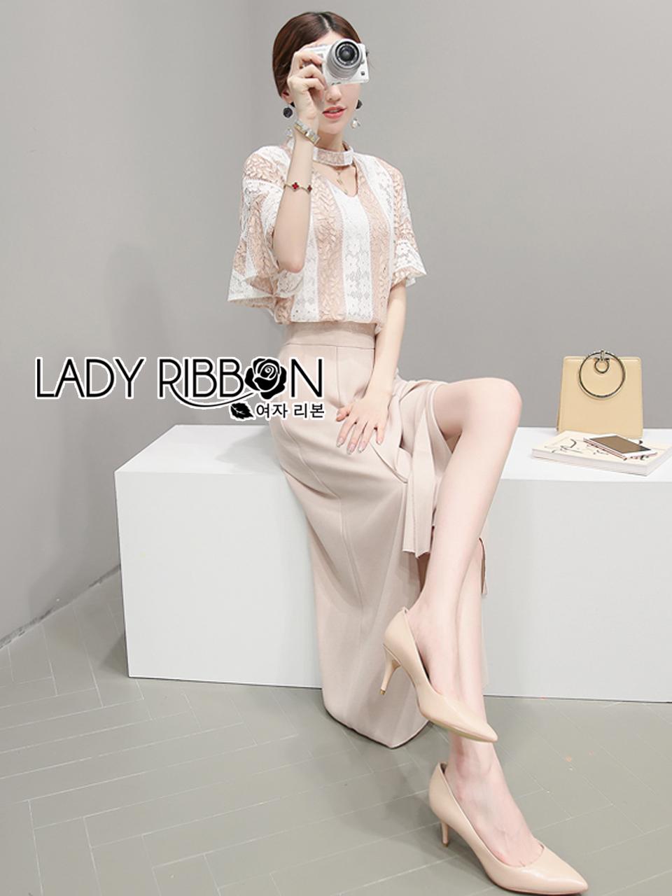 Lady Ribbon's Made &#x1F380 Lady Lizzie Cut-Out Striped Lace Top and Beige Culottes Set เซ็ตเสื้อลูกไม้ลายทางทรงคัทเอาท์และกางเกงขากว้างสีเบจ ลุคนี้เป็นสาวเรียบร้อย ใส่ไปทำงานแบบง่ายๆแต่ดูเก๋ ตัวเสื้อเป็นทรงสุดฮิต คัทเอาท์ช่วงคอเหมือนสายคาดchokerสุดฮ