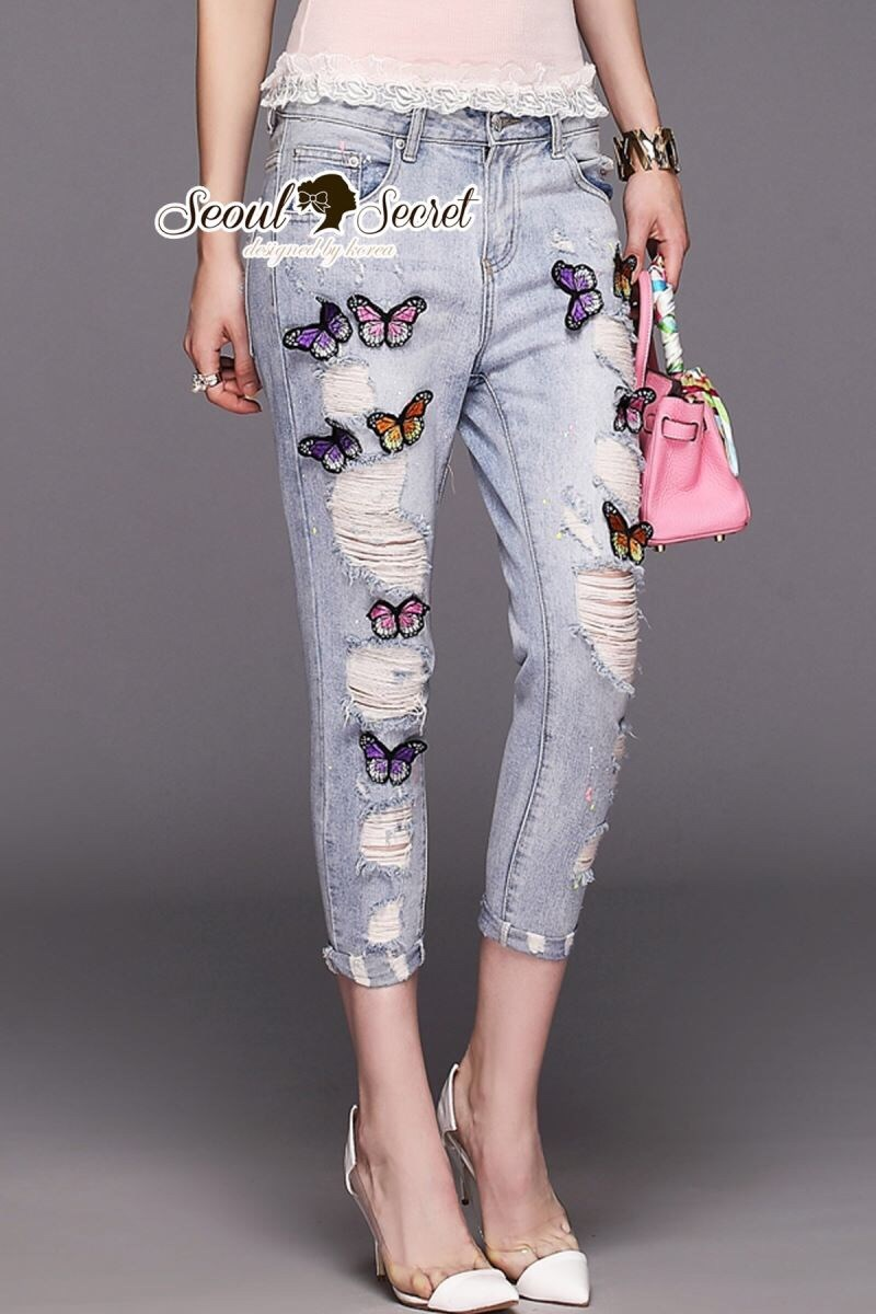 Butterfly Stickly Denim Pants