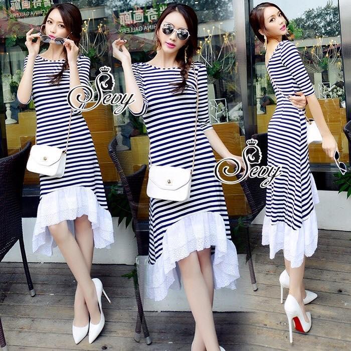 Stripes Classy Perforate Edge Midi Dress