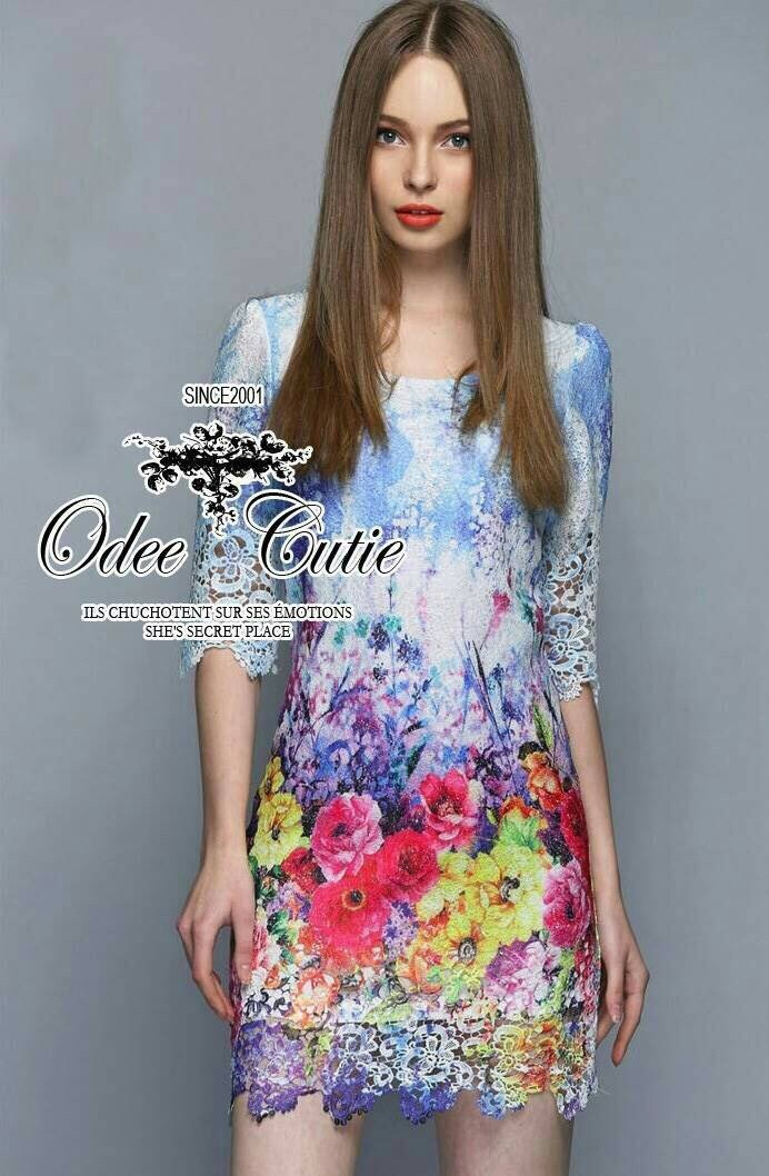 Colorful blooming lace mini dress