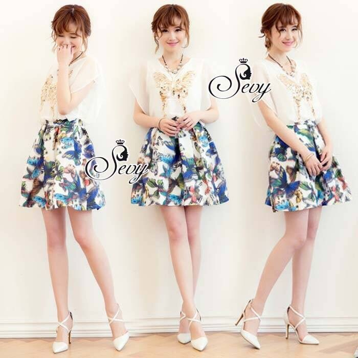 Butterfly Chiffon PV Cooling Sequined Printed Skirt One Pieces Mini Dress
