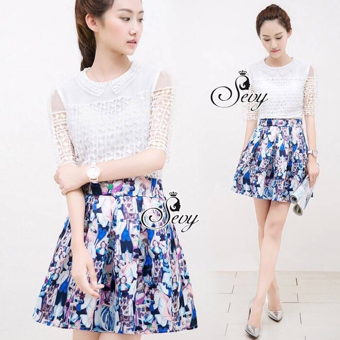English Style Printed Pleat Mini Skirt
