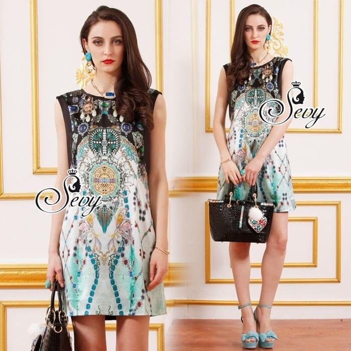 Paisley Mint Hola Sleeveless Jewelry Mini Dress